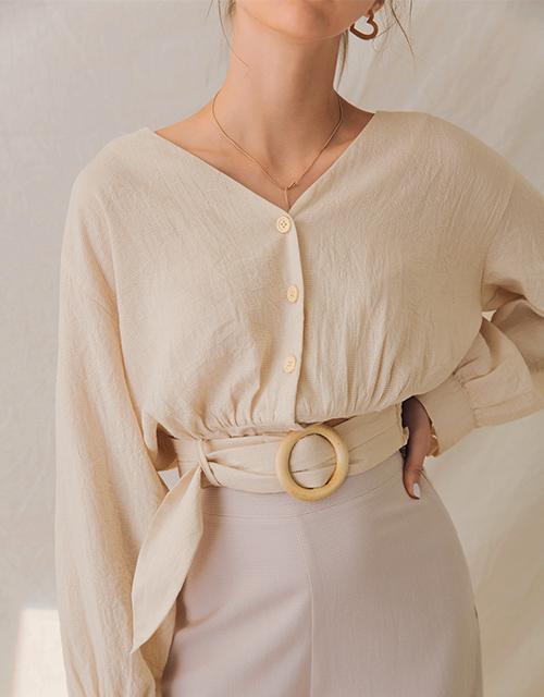 格紋造型腰帶排釦上衣